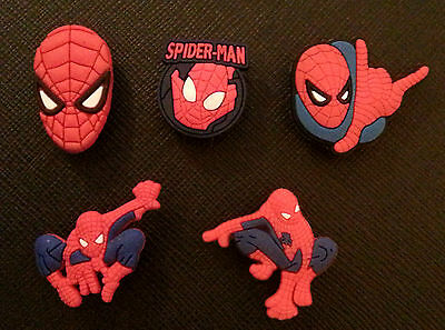 5 x Spiderman Shoe Charms for Crocs Jibbitz