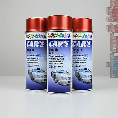 3x 400ml Dupli-Color Car's Metallic-Lack rot Spraydose Lackspray Effektlack
