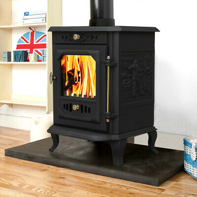 7.5KW Modern Multifuel Log Burning Cast Iron Wood Burner Stove Fireplace New