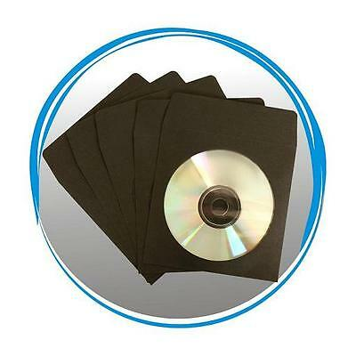 1000 BLACK CD DVD R Paper Sleeve Envelope with Window & Flap 100g