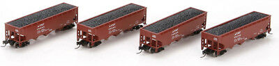 Athearn N Scale 40' 3-Bay Offset Hopper/Load Santa Fe/ATSF (Brown) 4-Pack #1