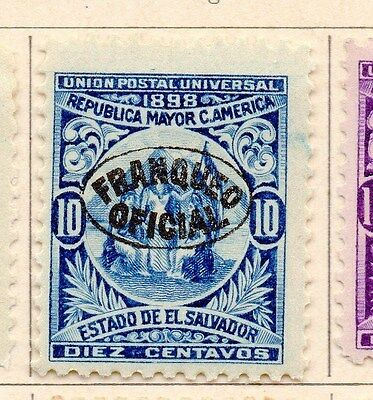 Salvador 1898 Early Officials Optd Issue Fine Mint Hinged 10c. 170453