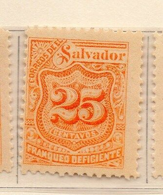 Salvador 1899 Early Timbres-Taxe Issue Fine Mint Hinged 25c. 170530