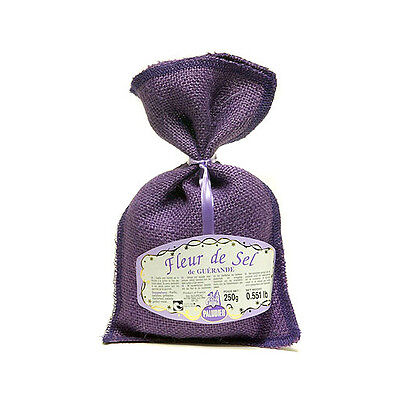 French Le Paludier de Guerande Fleur De Sel Sea Salt 8.8Oz (250g) New Purple Bag