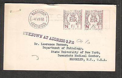 1962 1 1/2 + 2 1/2p meter pc Babraham Cambridge to NY/Unknown At Address GPO