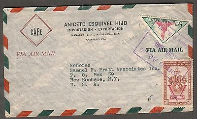 1949 air mail cover Cafe  Esquivel Hijo Managua Nicaragua to New Rochelle NY