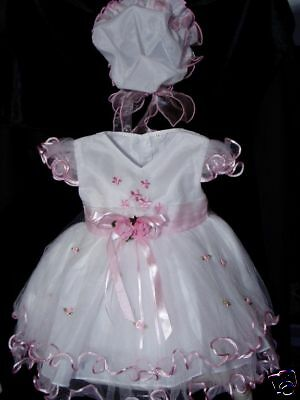 New White&Pink Christening Wedding Party Dress with Bonnet 0-3 Months