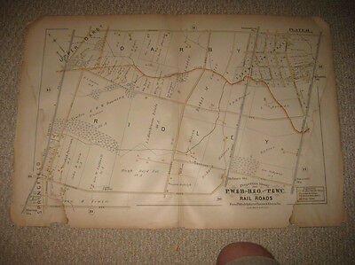 Antique 1889 Ridley Darby Township Morton Holmes Pennsylvania Handcolored Map Nr