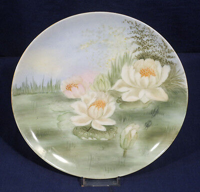 """Vintage Antique MZ Austria China Hand Painted Plate Water Lilies 8-5/8"""""""