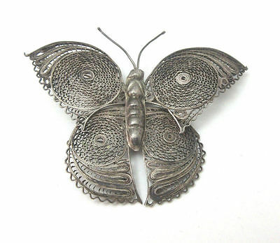 Vintage Silver Tone Filigree Large Butterfly Pin Brooch Mexico **