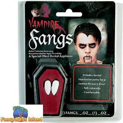 VAMPIRE FANGS TEETH + PUTTY/GLUE Make Up Face Body FAST POST Fancy Dress