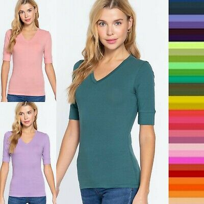 1X 2X 3X Plus Size Women's Elbow 3/4 Sleeve V-Neck Cotton T-shirt Tee Top #T6671