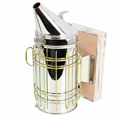 New Large Bee Hive Smoker Stainless Steel w/Heat Shield Beekeeping Equipment