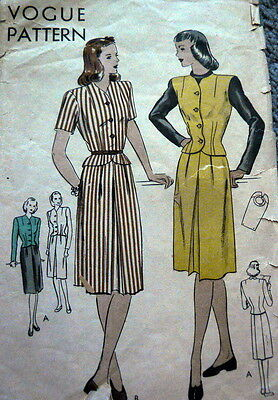 LOVELY VTG 1940s DRESS & DICKIE VOGUE Sewing Pattern 16/34