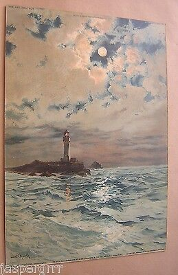 The Lighthouse (Moonlight). Chromolithograph Print. 1891 Genuine Victorian