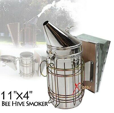 Large Bee Hive Smoker Stainless Steel w/Heat Shield Beekeeping Equipment New