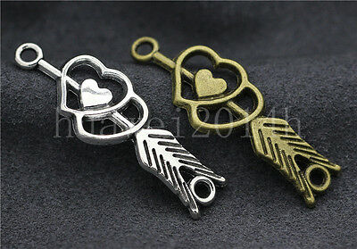 6/20/100pcs Tibetan Silver Double heart arrow Jewelry Charms Connector 39x13mm