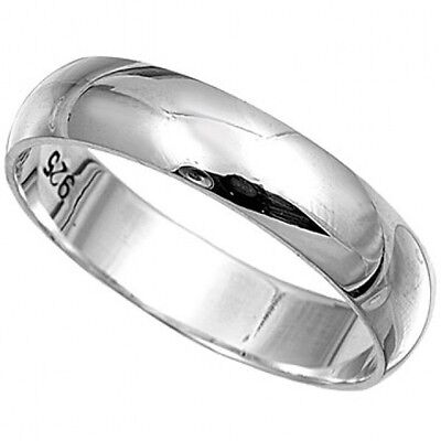 STERLING SILVER POLISHED PLAIN  BAND RING 4MM WiDE SIZES  G-Z