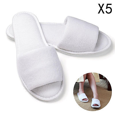 5Xpair White Towelling Hotel Disposable Toe Slippers Terry Spa Guest Party Shoes