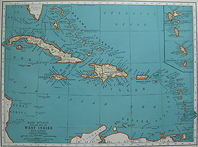 1945 WEST INDIES Map Vintage CARIBBEAN Map Gallery Wall Art Home Decor #1938