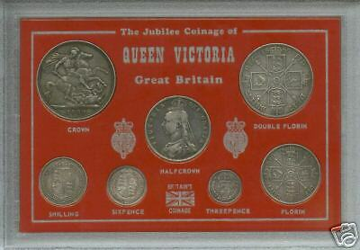 1887-1892 Queen Victoria British Silver Crown Coin Gift Type Set in Display Case