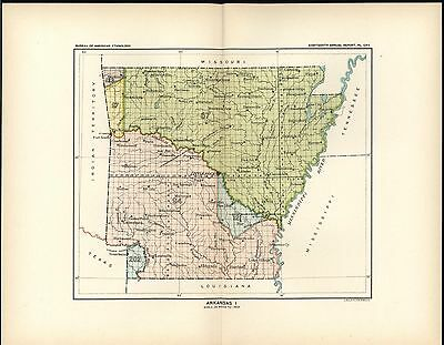 Arkansas Little Rock Arkadelphia Forrest 1899 antique Indian Land Cessations map