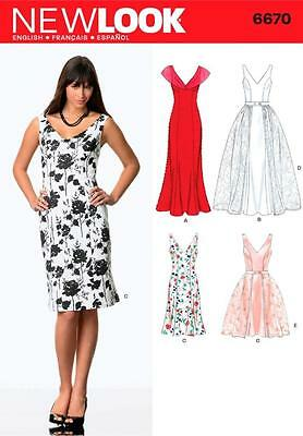 NEW LOOK SEWING PATTERN Misses Dress & Detachable Overskirt SIZES 8 - 18  6670