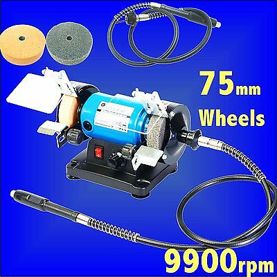 Silverline 75mm 3 Multi Bench Grinder craft hobby model wheel shaft grinding