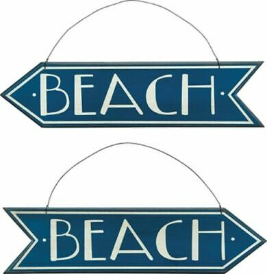 "Primitive Wood Arrow 18"" Blue Sign~Set 2~""BEACH""~Shabby Cottage Chic/Distressed"