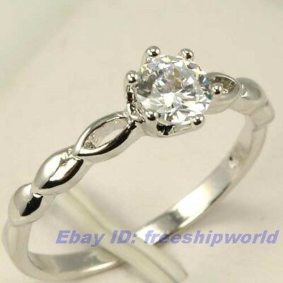 3pcs Wholesale Size 7.5 Ring,REAL DAINTY 0.45Ct GEMSTONE 18K WHITE GOLD GP SOLID