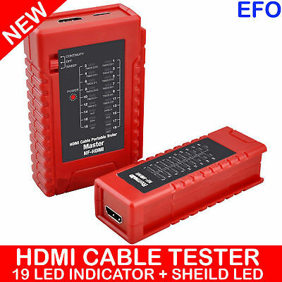 Hdmi Cable Tester Portable Battery Powered Led Indicator 19 Core Nf-Hdmi