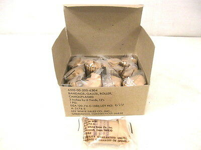 Vietnam US Army First Aid Kit Camouflage Gauze Bandage - Box of 12 - Dated 1973