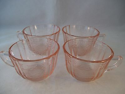 Vintage Indiana Glass Madrid Pink Set of 4 Tea Cups Recollection USA 1970's B