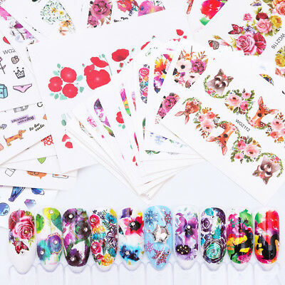 New 20 Sheets Nail Art Flower Wrap Water Transfer Slide Flower Decals Stickers