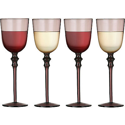 Set Of 4 Tessa Smoked Purple Red White Wine Dining Stylish Glasses Drinks Glass