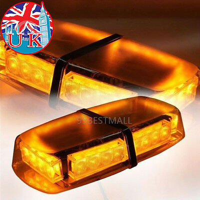 UK 12V Amber LED 24W Vehicle Roof Lightbar Flashing Beacon Strobe Light Magnetic