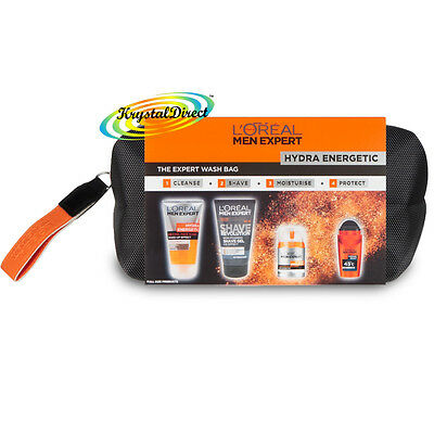 Loreal Men Expert Hydra Energetic Xmas 4pc Gift Set Toiletry Travel Wash Bag Kit