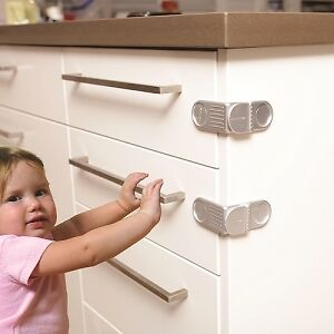 DreamBaby Angle Lock Cupboard and Appliances Lock Safety Latch 6 pack Silver
