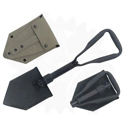 Tri-Fold Entrenching Tool (E-Tool), Genuine Military Issue, w/Rubber Cover, USED