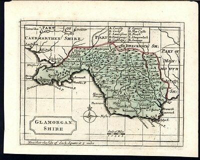 Glamorganshire England U.K. County c. 1783 old engraved hand color map