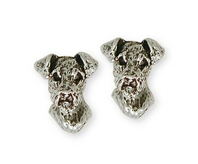 Sterling Silver Airedale Terrier Earrings Jewelry AR7-E