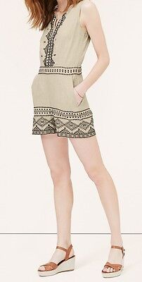 97f53b8a371 Ann Taylor LOFT Linen Embroidered Romper Various Sizes Flaxseed Color NWT
