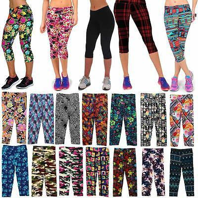 New Yoga Gym Women's Floral Elastic Waist Fitness Stretch Cropped Leggings Pants