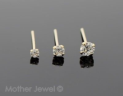 22G Real Solid 9K Yellow Gold Simulated Diamond Bendable Straight Pin Nose Stud