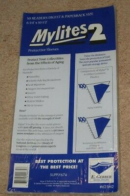 Pack of 50 Mylites 2 Mil Mylar Reader's Digest / Manga / Paperback Bags sleeves