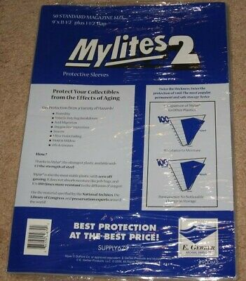 Pack of 50 Mylites 2 Mil Mylar Standard Time / SI Size Magazine Bags sleeves