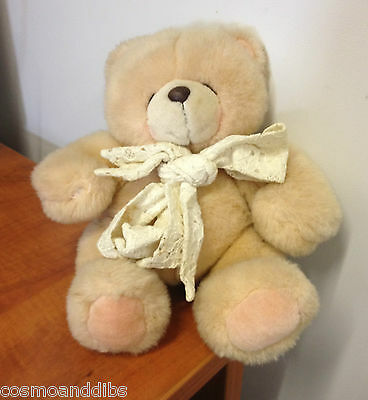 Forever Friends Large Bear With Lacy Bow Around His Neck