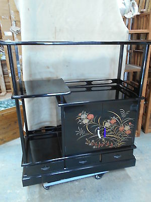 Vintage Japanese Cha DanaTea Ceremony Cabinet Kiri Wood Lacquered Circ1960s #82