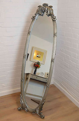 Large Antique Ornate silver Oval Cheval Mirror 5ft5 x 1ft7