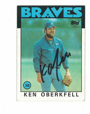 1986 Topps Ken Oberkfell Atlanta Braves Authentic Autograph COA